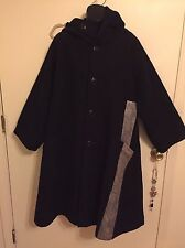 Y'S YOHJI YAMAMOTO women's navy blue oversized wide cut wool coat Size 2 (MD).