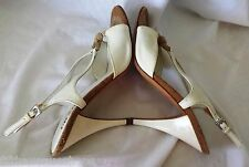 Prada Shoes 7 Slingback Cream Heels 37.5 Patent 37-1/2 Italy Women's Open Toe