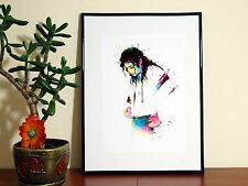 Michael Jackson Rainbow Watercolour Drawing - A4 Glossy Poster - FREE Shipping