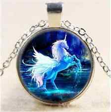 NEW Moonlight Unicorn Photo Cabochon Glass Tibet Silver Chain Pendant Necklace'
