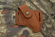 "Distressed Leather Sheath for concealed carry. Quality Made. Fits 4.5"" knife"