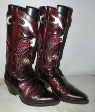 MEN'S TEXAS FANCY WESTERN COWBOY BOOTS SIZE 7 D BROWN RED & WHITE