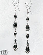 Gothic Long BLACK CRYSTAL TEARDROP EARRINGS 1920s Flapper Antique Silver E30