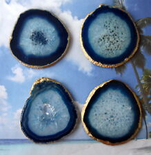One X Large Blue 18k Gold Leaf Agate Slice Gemstone Coaster Wine Glass Coasters