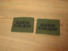 British Army Olive Green Rank Slides, Queens Fusiliers