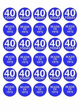 30 x 40th Party Fourty Fortieth Edible Rice Wafer Paper Cupcake Toppers