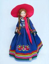 "Vintage 26"" Lenci Italy Felt Lady Doll w/ Red Braided Hair - Fabulous and Rare!"