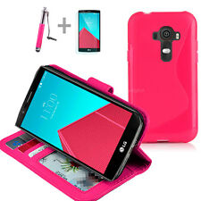 HOT PINK Wallet 4in1 Accessory Bundle Kit S TPU Case Cover For LG G4 4G