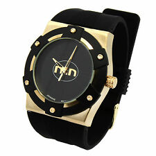 Mens Gold/Black/Black MN HipHop Fashion Casual Silicone Quartz Wrist watches