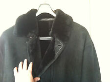 JEKEL PARIS Mens Shearling 100% Sheepskin Fur Coat Jacket XXL Black Suede FRANCE