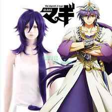 The Labyrinth of Magi Sinbad Long Purple Anime Cosplay Wig