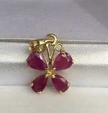 14k Solid Yellow Gold Small Butter Fly  Pendant, Natural Ruby 1.2TCW
