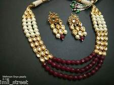 Bollywood Traditional Rani Pearl Beads Bridal Kundan Necklace Jewelry Set BVN206