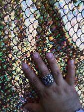 Gold Hologram Mermaid Fish Scales- 2 Way Stretch Spandex Fabric- By The Yard-