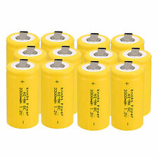 12pc Anmas Power Sub C SC 1.2V 3000mAh Ni-Md NiMd Rechargeable Batteries ,Yellow