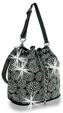 DAZZLING RHINESTONE DRAWSTRING MESSENGER BAG HOBO CIRCLE PURSE BLACK