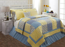 Caledon King Quilt 100% cotton Quilted Bedspread Yellow & Blue Patchwork Quilt