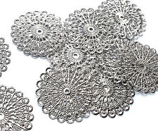 10 x Quality Silver Plated Filigree Stamped Wrap, Stick on Charm Embellishments