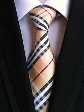 New Classic Checks Beige Black White JACQUARD WOVEN 100% Silk Men's Tie Necktie