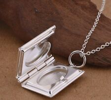 925 Sterling Silver Locket Photo Pendant Charm Necklace Link Chain Antique Style