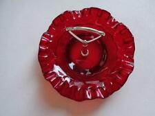 """Ruby Red Glass Ruffled Edge Candy Nut Dish With Silver Handle 8"""" x 5"""""""