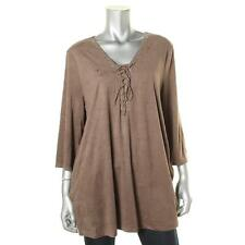 Style & Co. 5138 Womens Brown Side Vents Lace Up Pullover Top Shirt L BHFO