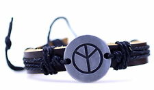 Tibetan silver peace sign ethnic hemp leather charm bracelet