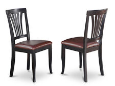 Set of 2 Avon dinette kitchen dining chairs with faux leather seat in black