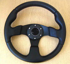Black Sports Steering Wheel 320mm in PU Leather Imitation