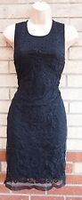 ZARA LACE FLORAL MESH BOHEMIAN EMBROIDERED BLACK TUBE SHIFT RARE DRESS M 12