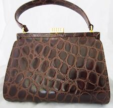VTG CARLA MANCINI HANDBAG Brown Croc Embossed Leather KELLY BAG PURSE/CLUTCH