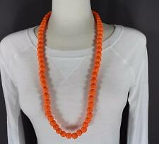 "orange wood big bead long 30"" necklace beaded wooden lightweight"