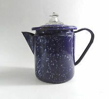 "Vintage coffee percolator enamelware speckled blue & white glass pyrex 5"" tall"