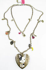 BETSEY JOHNSON Paris Bulldog Dog Heart Locket Padlock Charm 2-Row Long Necklace