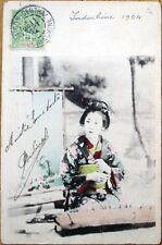 1904 Postcard: Japanese Geisha Girl/Music Instrument- Postmark Indochina/Vietnam