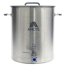 Professional Stainless 15 Gallon Home Brew Kettle - Lid, Valve, Accessory Port
