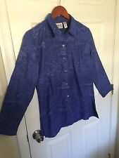 Chicos Design Blue Embroidered Asian Shirt Top Blouse Button Down Front Size 1