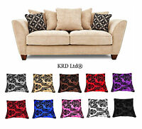 """Luxurious Damask Cushion Covers 18""""x18"""" Flock 14 Colours Sofa Couch Pillow Cover"""