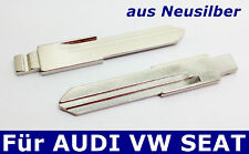 2 flip key blanks from New silver for AUDI VW Seat