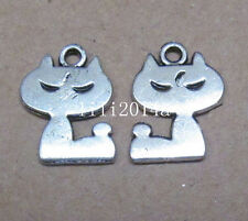 20pc rétro Tibet Silver Charm lovely animal chat perles accessoires