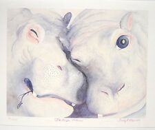 """TRUDY L. REYNOLDS """"The Purple Potami"""" Watercolor SIGNED Lithograph Print 20X25"""