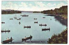 1908 Lake Maranocook, ME Boating Maine, vintage postcard