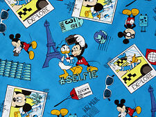 DISNEY MICKEY MOUSE SELFIE COMIC STRIP DONALD TRAVEL  100% COTTON FABRIC YARDAGE