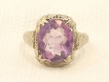 Estate Antique 14K White Gold Filigree Amethyst Ring 14kt WG