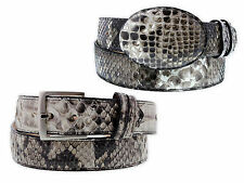Men's Genuine Python Skin Belt Exotic Handmade Round Silver Buckle Cowboy New
