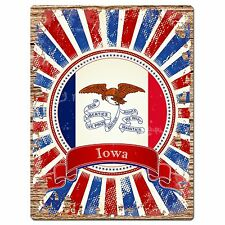 PP0994 USA Iowa State Flag Chic Sign Home Shop Store Room Wall Decor Gift