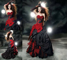 Red/Black Taffeta Gothic Halloween Dresses Prom Party Ball Formal Evening Gown