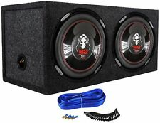"Pair Boss P126DVC 12"" 4600 Watt DVC Car Subwoofers + Sealed Sub Box Enclosure"