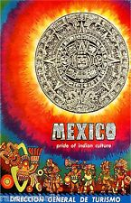Mexico Pride of Indian Culture Mexican Vintage Travel Advertisement Art Poster