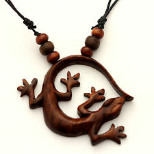 NECKLACES necklace Sono wood LIZARD Pendant necklaces NJ-086 hand carved